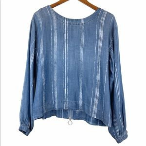 Anthro Cloth & Stone NWOT Chambray Zip Back Top L
